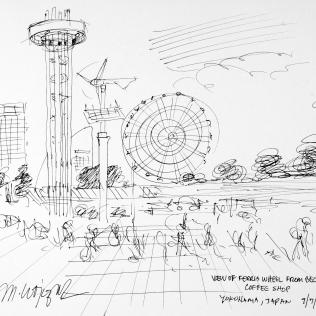 100. View of Ferris Wheel from Beck's Coffee Shop Yokohama, Japan 7-7-06